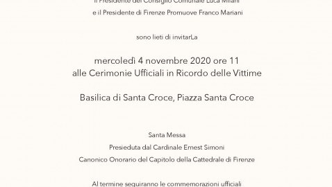 Le celebrazioni per il 54° anniversario dell'Alluvione di Firenze – 4 novembre 2020