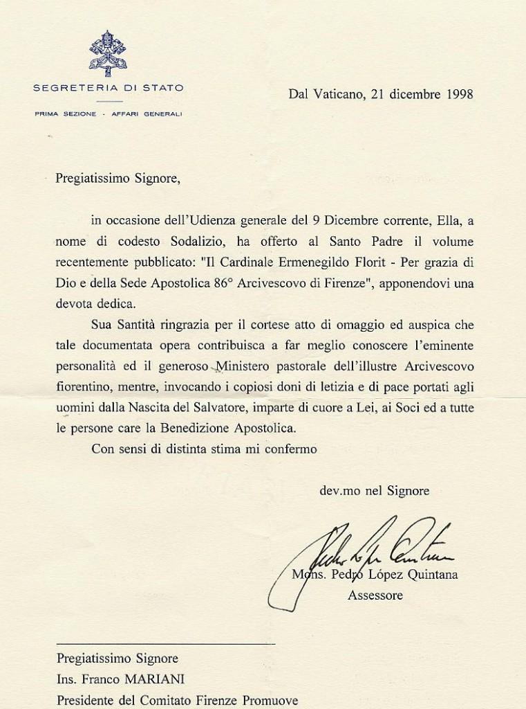 lettera Papa a Mariani per Card Florit