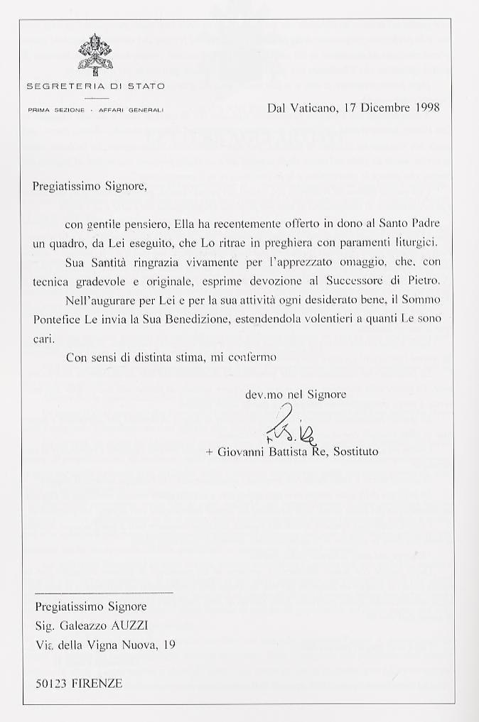 lettera_vaticano per Firenze Promuove Giubileo 2000