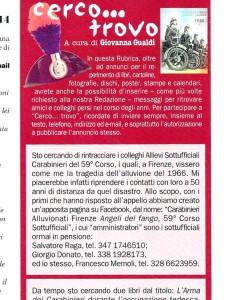 Annuncio della Rivista dell'Associazione Nazionale Carabinieri