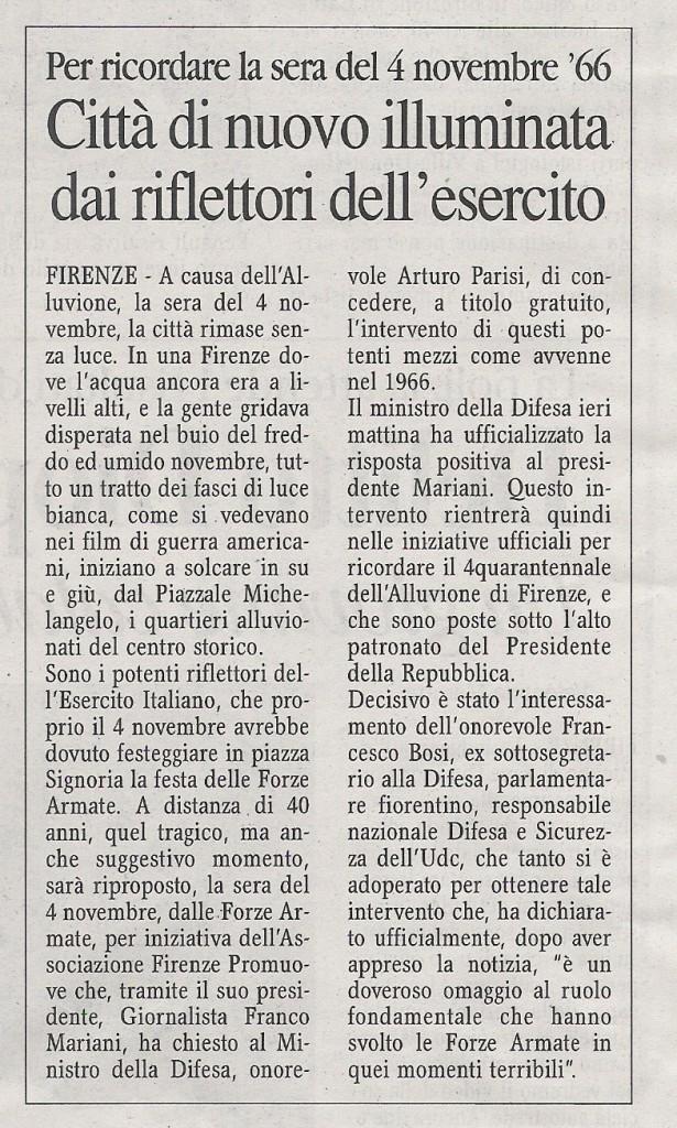 CORRIERE DI FIRENZE DEL 20 OTTOBRE 2006