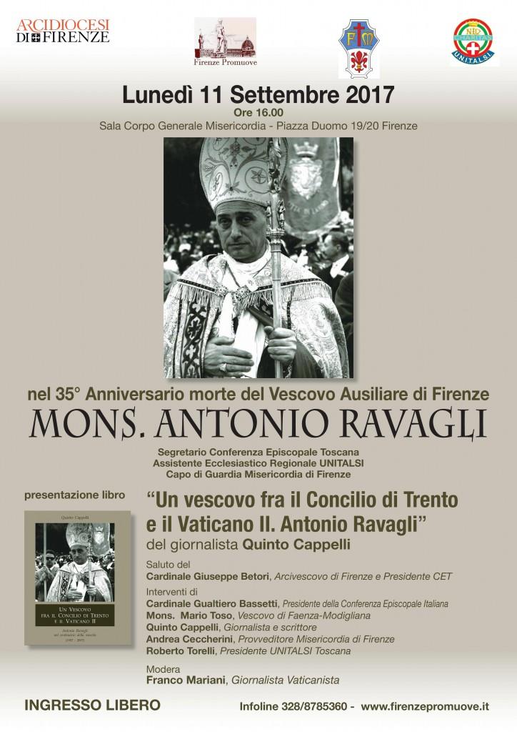 Locandina cerimonia Vescovo Mons. Antonio Ravagli - 11 sett 2017 ore 16 Firenze