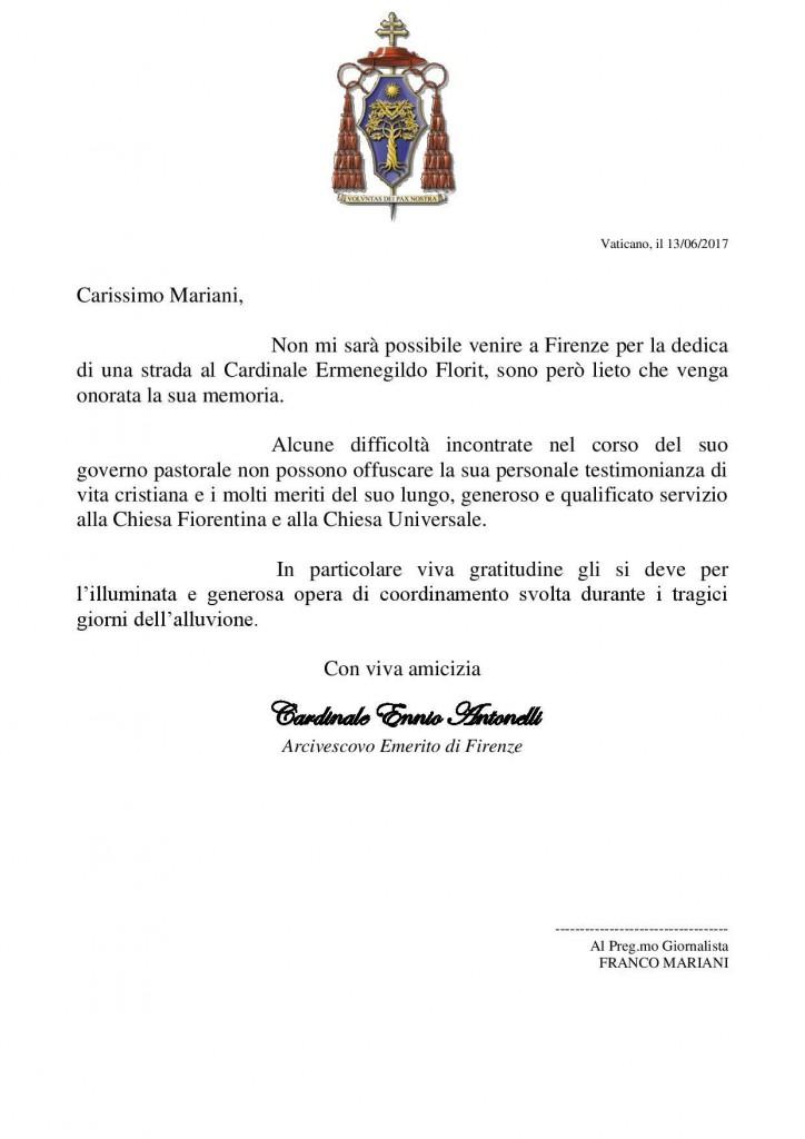 Messaggio Cardinale Antonelli