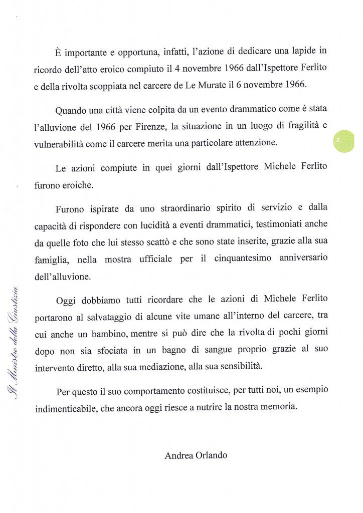 Messaggio Ministro della Giustizia On. Orlando al Giornalista Franco Mariani (2)