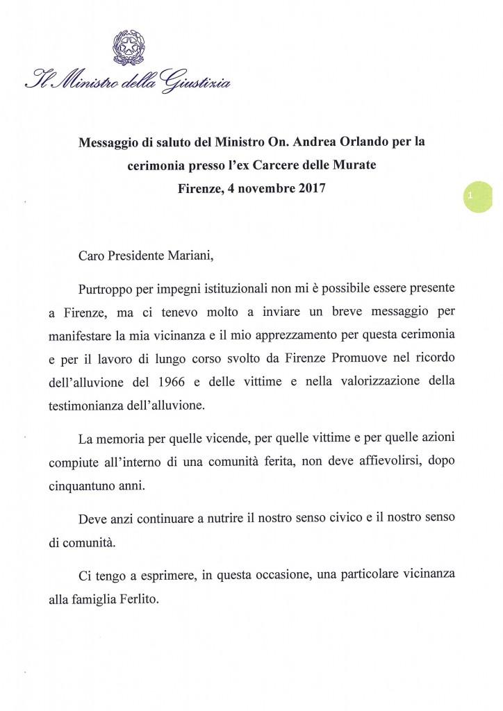 Messaggio Ministro della Giustizia On. Orlando al Giornalista Franco Mariani