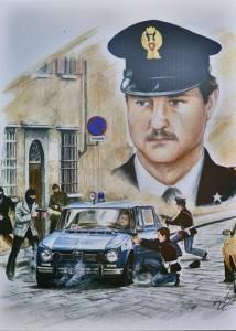 Vignetta mostra Polizia - agguato terroristi agente Dionisi