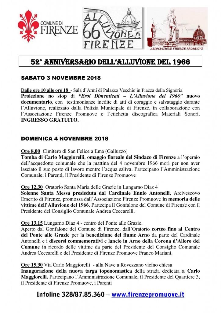 Programma cerimonie 52 Alluvione 1966 - 2018