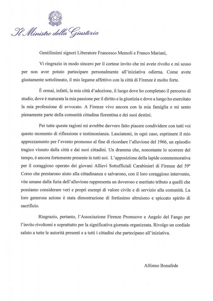 messaggio Ministro Bonafede