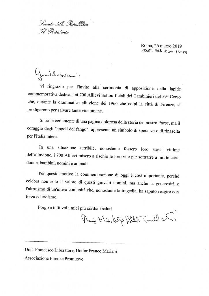 messaggio presidente Senato cerimonia lapide Carabinieri