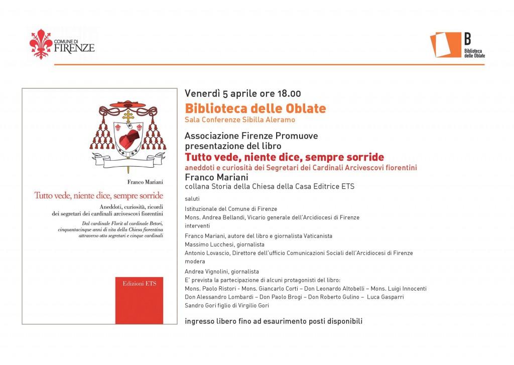 Invito - presentazione libro Segretari Cardinali di Franco Mariani - 5 APRILE 2019 Biblioteca Oblate a Firenze (1)
